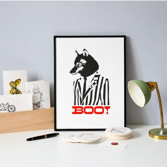 Affiche Loup Boo ! - Sérigraphie